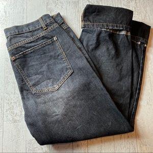 POL Black Faux Distressed Hem Cuff Jeans Size 30
